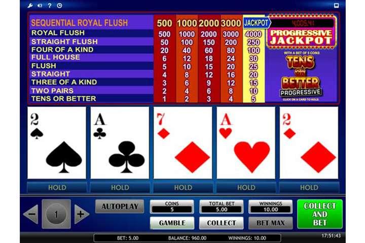 Video poker met progressieve jackpot